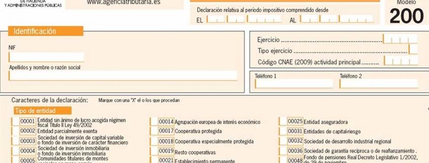 Modelo 200 del Impuesto sobre Sociedades