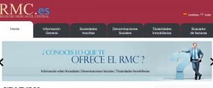 Detalle de la página principal del registro central