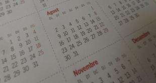 Calendario en el que se ven los meses de agosto y noviembre