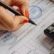 Cuentas anuales. Mano de mujer con calculadora, papeles y bolígrafo